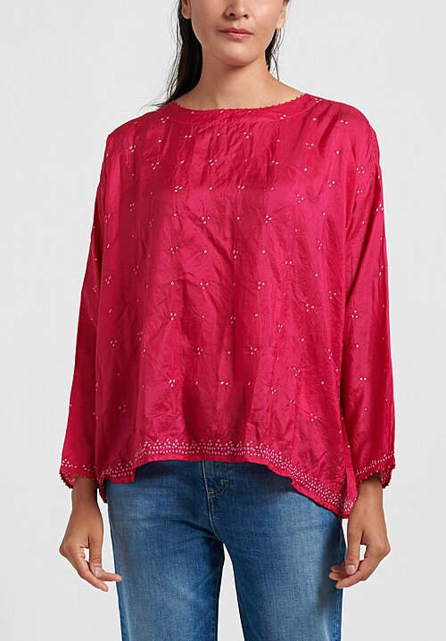 Péro Silk Shibori Dyed Top in Pink