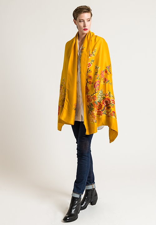 Etro Floral Print Scarf in Golden