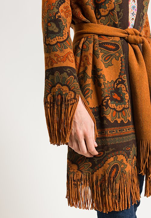 Etro Fringe Edge Cardigan in Brown