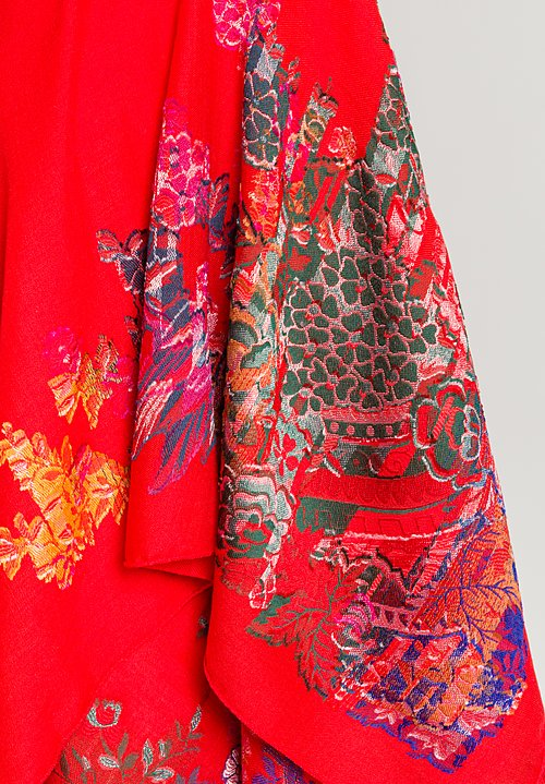 Etro Bird & Floral Print Scarf in Red