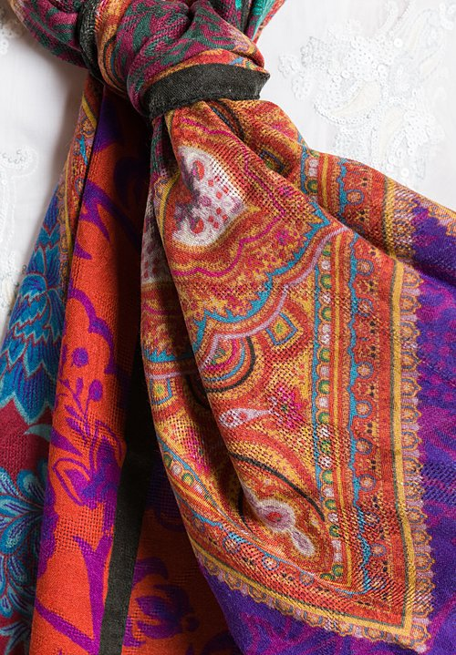 Etro Jacquard Scarf in Orange/ Purple