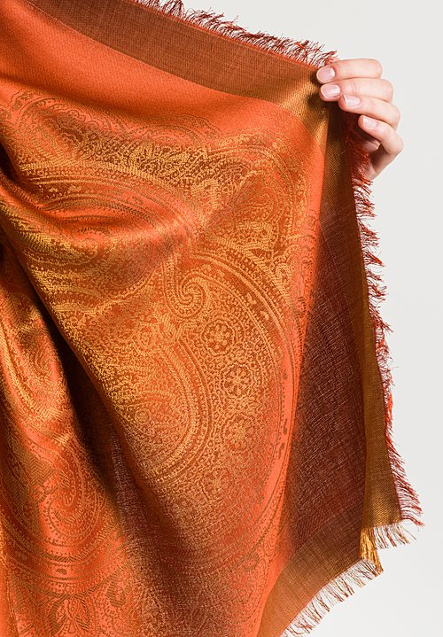 Etro Metallic Paisly Scarf in Rust/ Gold