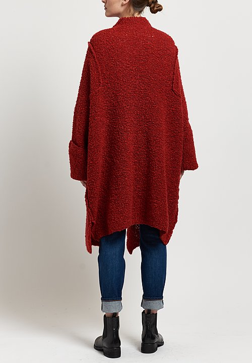 Shi Cashmere Super Yak Knit Glenda Coat in Red Coco