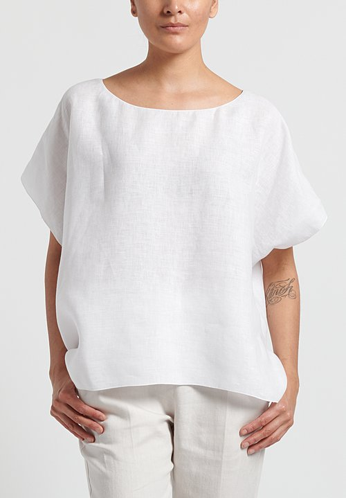 Shi Cotton Oversize Short Sleeve Top in White