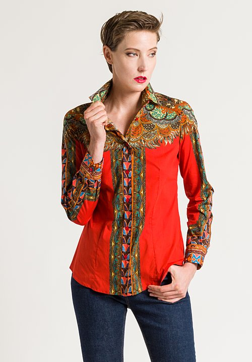 Etro Paisley Print Shirt in Orange