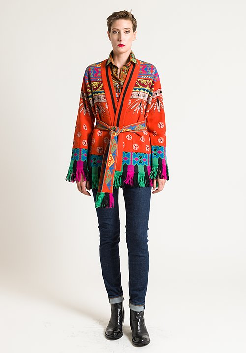 Etro Belted Paisley Fringe Cardigan in Orange