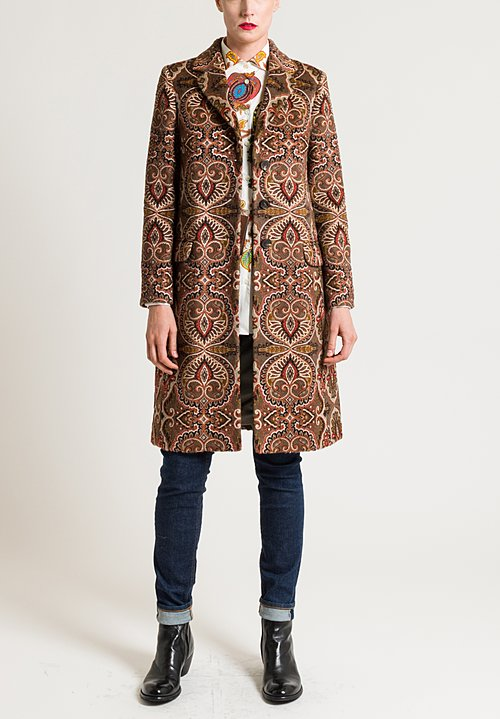 Etro Long Paisley Print Coat in Brown