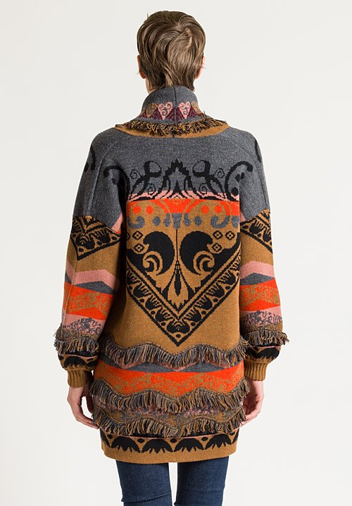 Etro Paisley Knit Fringe Detail Coat in Ochre