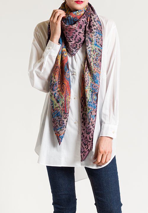 Etro Jaguar & Paisley Print Scarf in Purple Multi