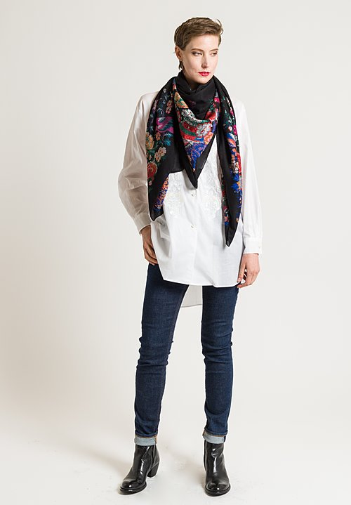Etro Bird & Floral Print Scarf in Black