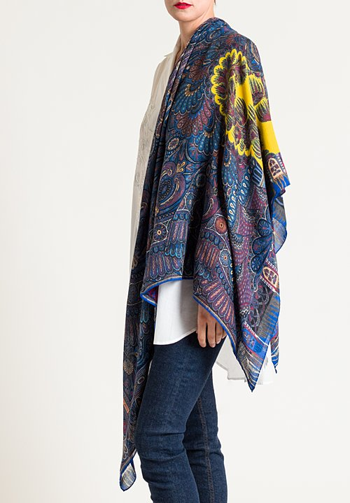 Etro Intricate Paisley Print Scarf in Blue