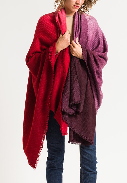 Alonpi Soleil Degrade Shawl in Red/ Purple