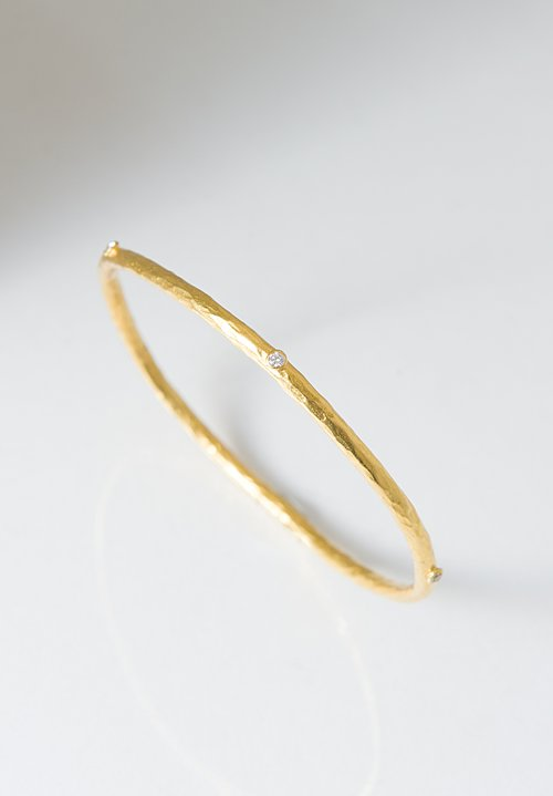 Lika Behar 24K Hammered Gold Diamond Bracelet