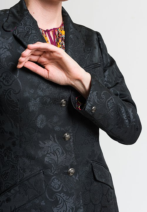 Etro Tailored Floral Jacquard Blazer in Black