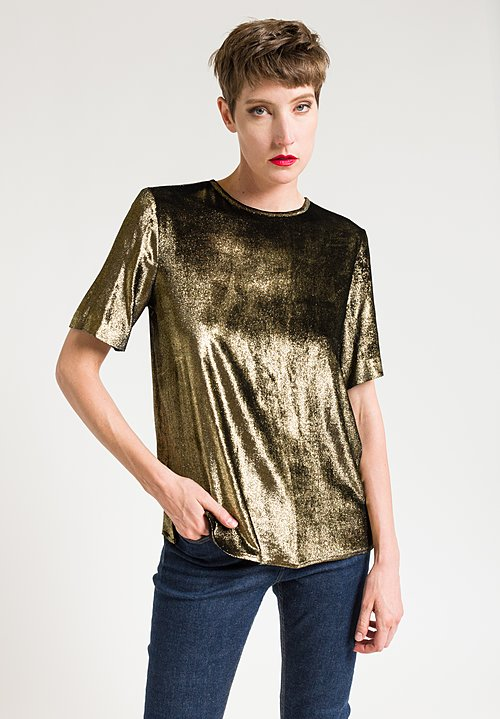 Etro Relaxed Metallic Top in Black/ Gold