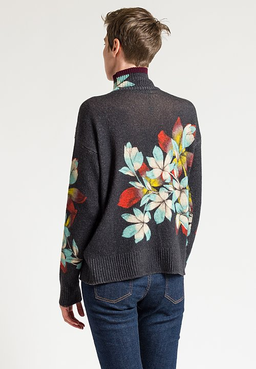 Etro Floral Turtleneck Sweater in Black
