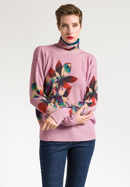 Etro Floral Turtleneck Sweater in Pastel Orchid