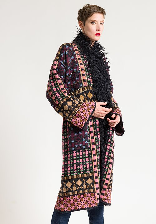 Etro Faux Fur Trim Knit Coat in Black