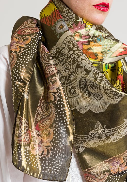 Etro Flower & Paisley Scarf in Gold