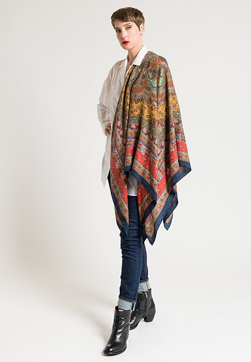 Etro Intricate Paisley Print Scarf in Scarlet/ Navy
