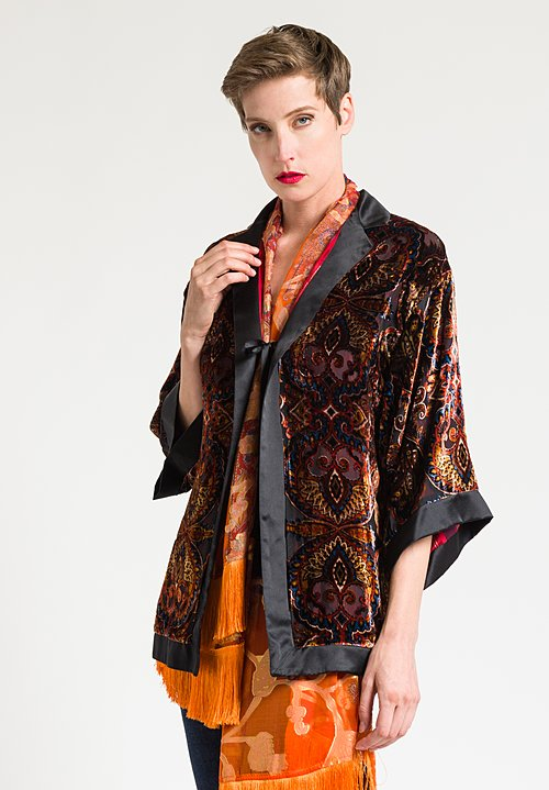 Etro Devoré Velvet Tie Front Jacket in Black