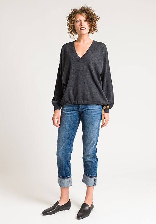 Brunello Cucinelli Gathered V-Neck Sweater in Charcoal