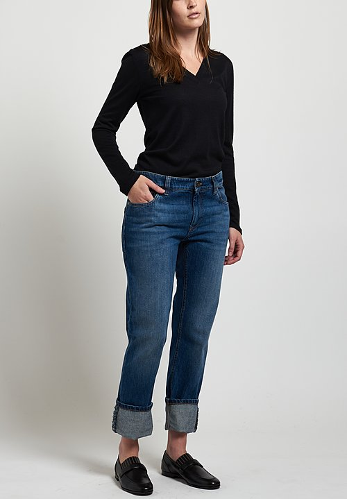 Brunello Cucinelli Straight Leg Jeans in Medium Denim