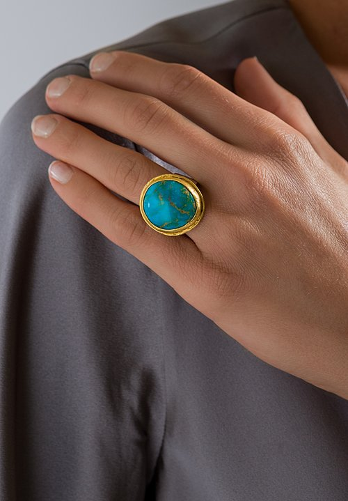 Greig Porter 22K, Round Kingman Ring with Sterling Silver Band