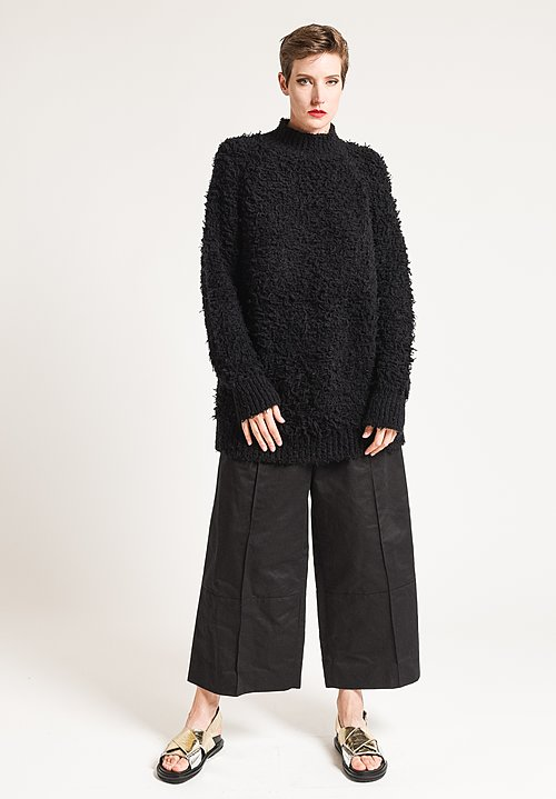 Marni Faux Fur Turtleneck Sweater in Black