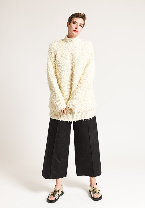 Marni Faux Fur Turtleneck Sweater in Snow White