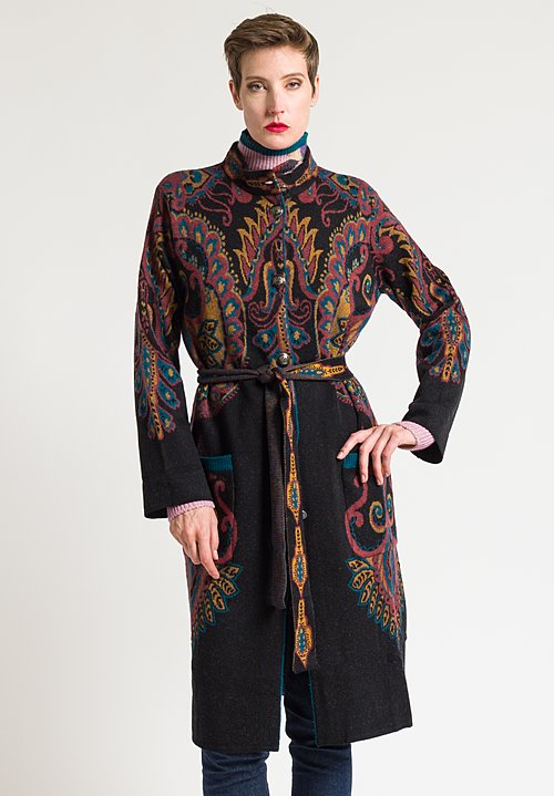 Etro Paisley Knit Coat in Black