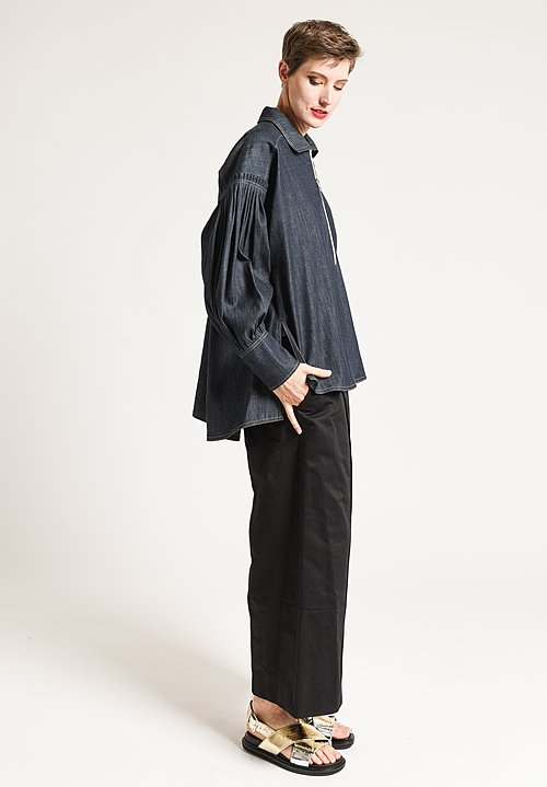 Marni Denim Pleated Top in Steel