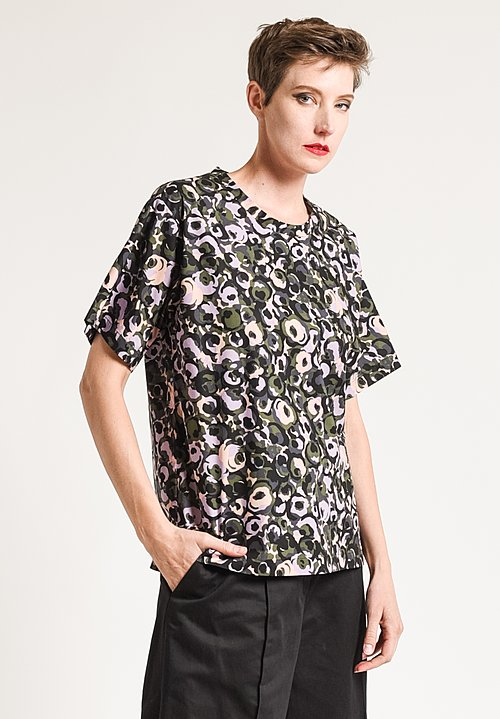 Marni Printed Crew Neck Top in Lawn Green