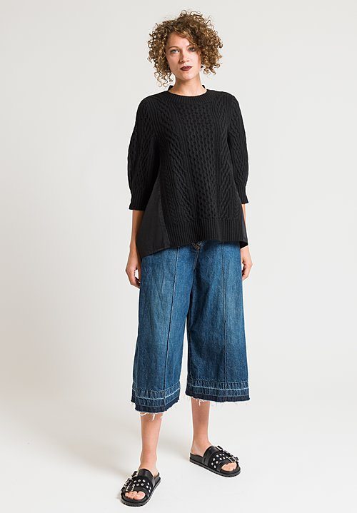 Sacai Front Knit Sweater Top in Black