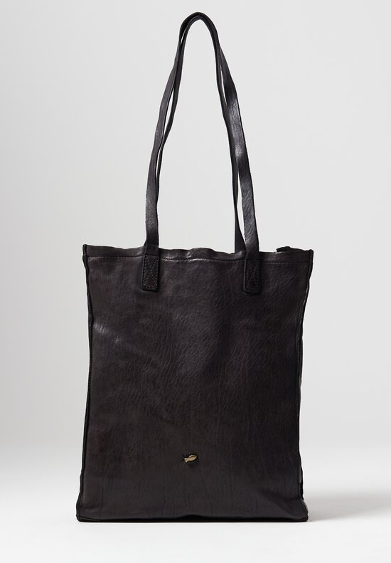 Campomaggi Leather Shopping Tote in Black
