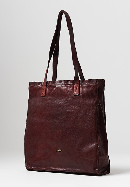 Campomaggi Leather Shopping Tote in Burgundy