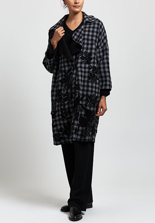 Péro Floral Cutout Coat in Black/ Check