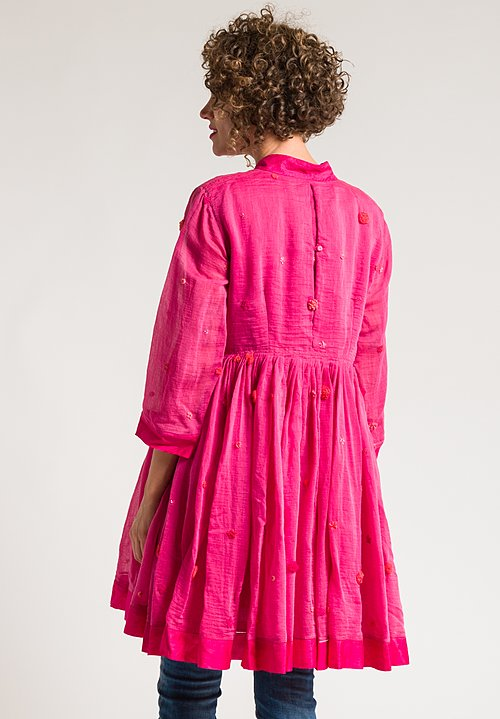 Pero Beaded Flower Detail Tunic in Bright Pink