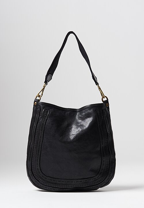 Campomaggi Large Laser Cut Detail Loop Bag in Black