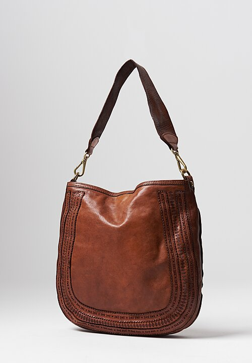 Campomaggi Large Laser Cut Loop Bag in Cognac