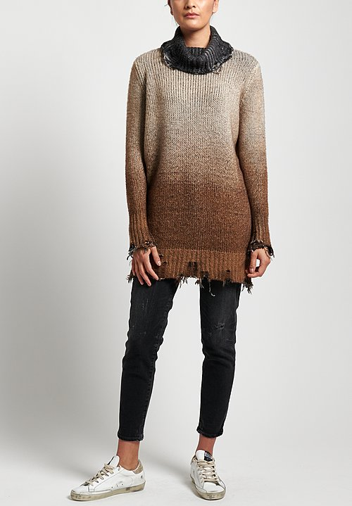 Avant Toi Distressed Sweater in Suede