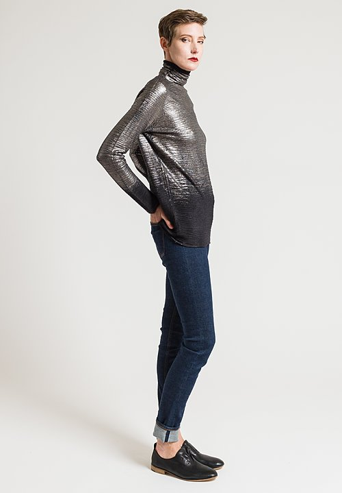 Avant Toi Metallic Turtleneck Top in Black/ Foil