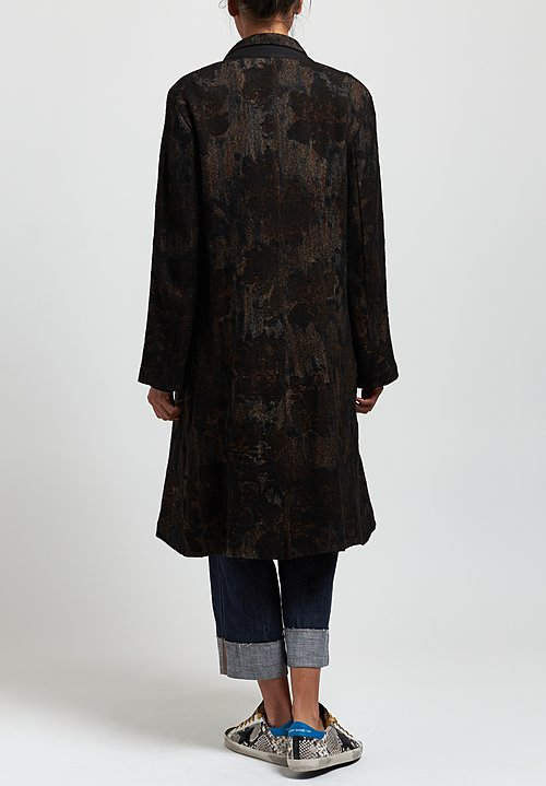 Avant Toi Jacquard Notch Lapel Coat in Suede