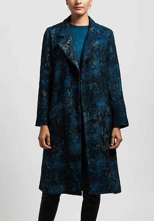Avant Toi Jacquard Notch Lapel Coat in Turchese