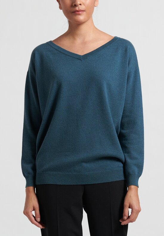 Brunello Cucinelli Cashmere Relaxed V-Neck Sweater in Teal
