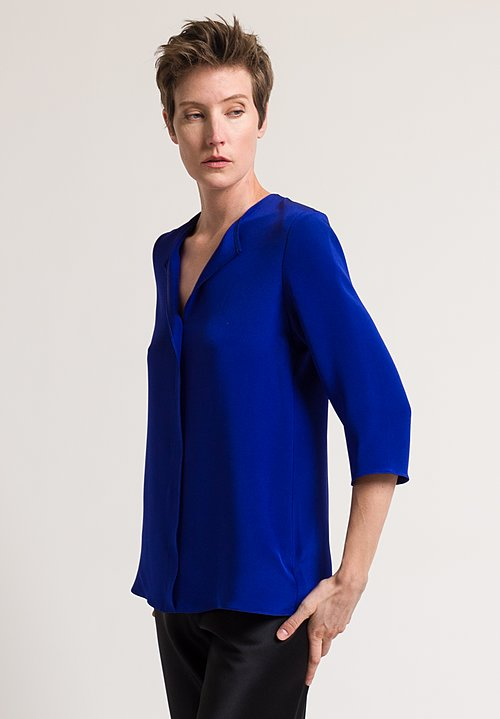 Peter Cohen 3/4 Sleeve Blouse in Sapphire