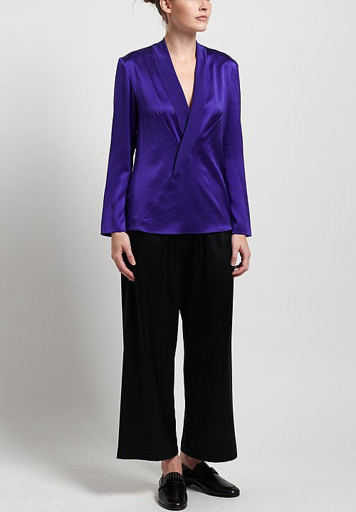 Peter Cohen Satin Silk Tucksy Top in Violet
