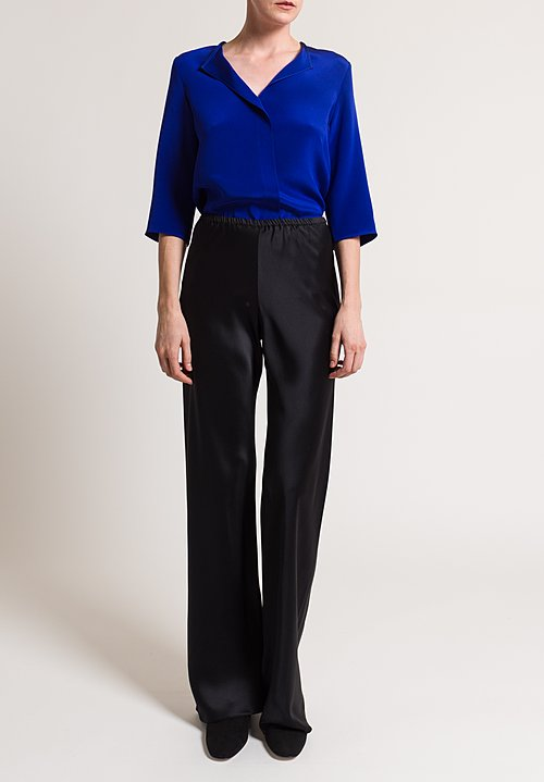 Peter Cohen Satin Silk Wide Leg Pants in Black