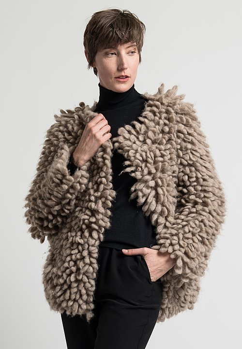 Daniela Gregis Hand-Knit Spiral Jacket in Natural