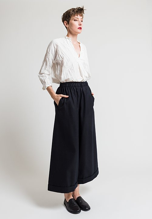 Daniela Gregis Wool Twill Culottes in Black